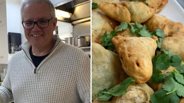 Australian Prime Minister Scott Morrison with ScoMosas which he wants to share with Prime Minister Narendra Modi.(Twitter/@ScottMorrisonMP)
