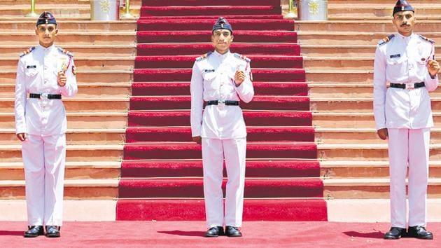 (L-R) Battalion Cadet Captain Shivam Kumar won the President's Gold Medal for standing first in overall order of merit, while Battalion Cadet Captain Mukesh Kumar won President's Silver Medal and Battalion Cadet Captain Parth Gupta won President's Bronze Medal for standing third in order of merit.(HT PHOTO)