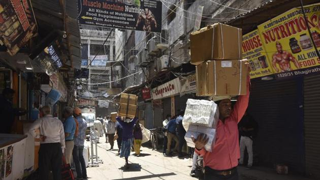 According to various traders' associations, Bhagirath Palace has been essential in the capital's war against Covid-19, being the state's largest wholesale market for medicines.(Sonu Mehta/HT file photo)