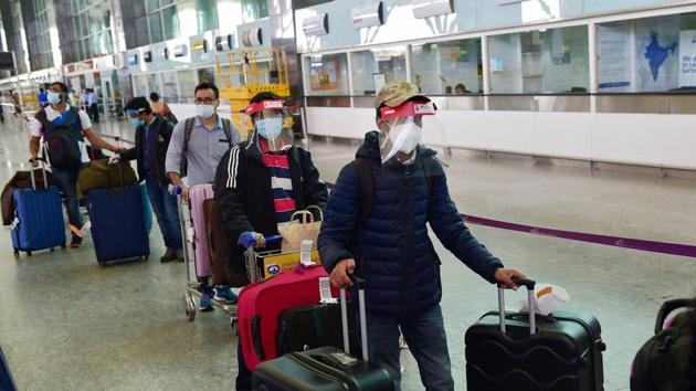 Indian nationals step out of the terminal at Kempegowda Airport after arriving by a special Air India flight from Frankfurt (Germany) amid COVID-19 pandemic, in Bengaluru.(PTI/Representative Images)