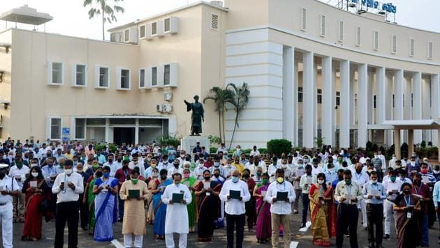 A day after Odisha sang the state anthem 'Bande Utkal Janani' to respect and encourage Covid warriors, several front line health workers were reported to have tested positive for the disease in the state.(ANI)