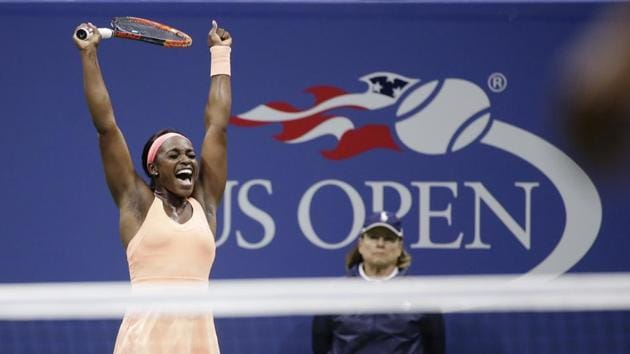 File photo of Sloane Stephens reacts after defeating Venus Williams in a semifinal match at the U.S. Open tennis tournament in New York(AP)