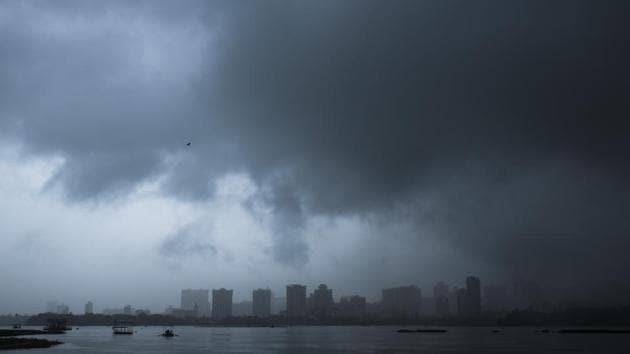 Dark clouds over Powai lake in Mumbai, India.(Pratik Chorge/HT Photo)