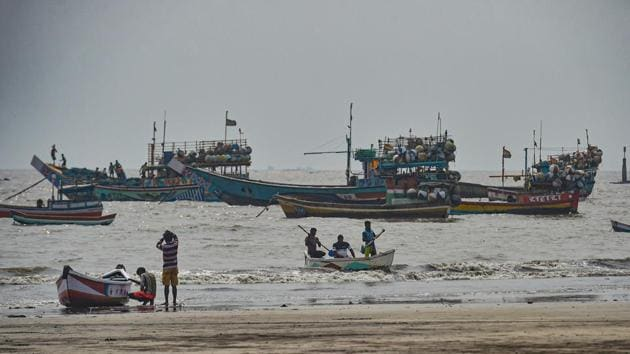 Fishing boats seen anchored at a shore following a warning by Indian Meteorological Department (IMD) for fishermen not to enter the Arabian Sea for the next two days as a precaution against cyclone 'Nisarga'.(PTI photo)