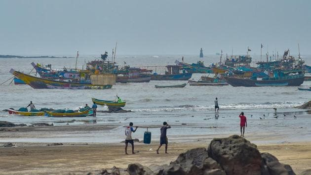 Fishing boats anchored at the shore following a warning by India Meteorological Department (IMD) for the fishermen to not enter the Arabian Sea for the next two days as a precaution against Cyclone Nisarga, in Thane on Monday.(PTI Photo)