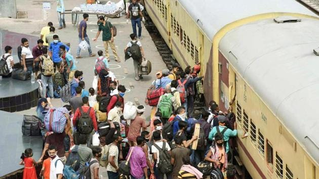 So far, 28 to 29 lakh migrants have reached Bihar in its biggest ever evacuation exercise.(HT photo/ Santosh Kumar)