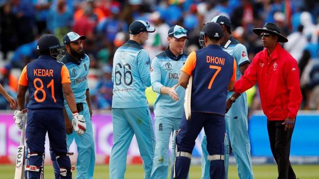 File image of India and England players shaking hands after World Cup match.(Reuters)