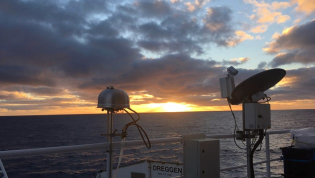 Aerosol filter samplers probe the air over the Southern Ocean on the Australian Marine National Facility's R/V Investigator(Photo Credit: Kathryn Moore / Colorado State University)