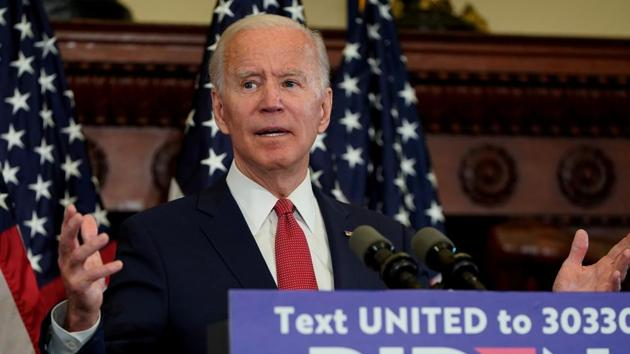 Joe Biden speaks about President Donald Trump's response to protests and rioting across the United States during an event in Philadelphia.(REUTERS)
