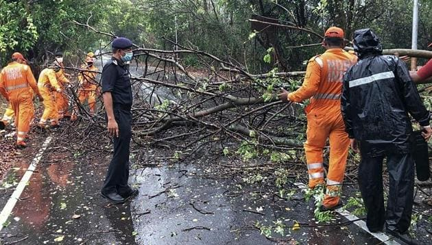 NDRF personnel clearing fallen trees from a road in Alibag town of Raigad district following cyclone Nisarga landfall in India's western coast.(AFP photo)
