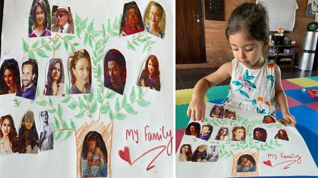 Inaaya Naumi Kemmu shows off the family tree made by her.