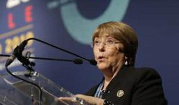 Michelle Bachelet expressed alarm over how censorship had been tightened in several countries, along with arbitrary arrests of people who criticise their governments.(AP)