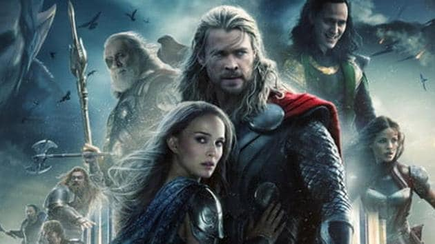 Chris Hemsworth and Natalie Portman as Thor and Jane Foster.
