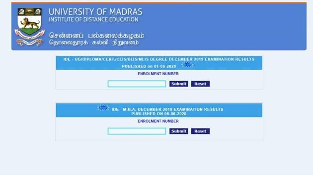 IDE University of Madras MBA December 2019 results. (Screengrab)
