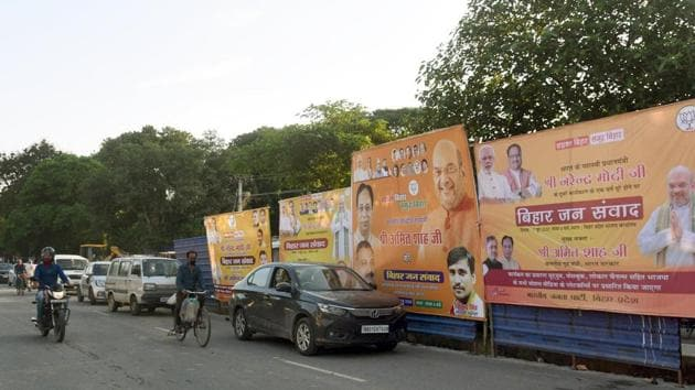 Hoardings for BJP's 'Bihar Jan Samwad' virtual rally, which will be addressed by Union home minister Amit Shah today, put up near the party's office in Patna, on Saturday.(Santosh Kumar/HT Photo)