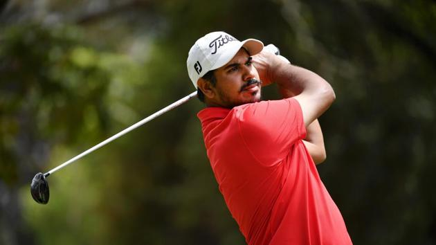 Gaganjeet Bhullar plays a shot on the 3rd hole during Day Two of the Magical Kenya Open Presented by Absa.(Getty Images)