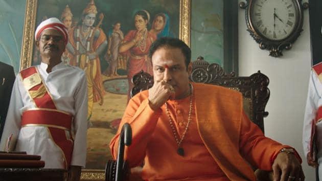 Nandamuri Balakrishna as his father NT Rama Rao in NTR Kathanayakudu.