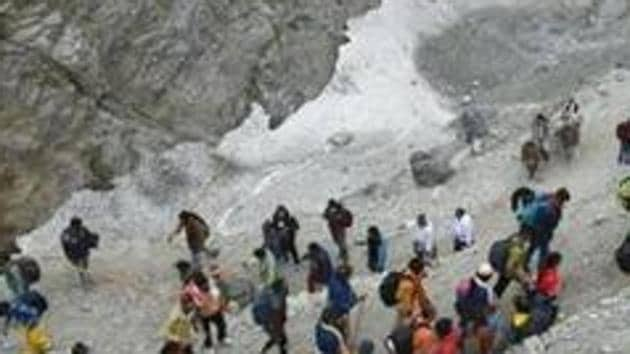 Only Baltal route is likely to be made operational for the devotees headed to the holy cave shrine of Amarnath this year.(PTI Photo)