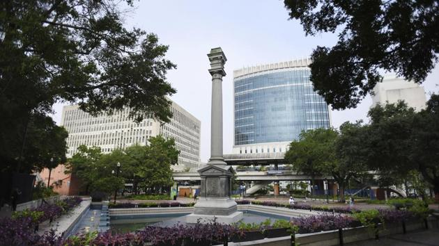 The Confederate Monument that has stood in Jacksonville, Florida's Hemming Park since it was erected in 1898, has been partially dismantled with the Confederate soldier statue that topped off the 62-foot monument and the bronze plaques around the base removed in the early morning hours of Tuesday, June 9, 2020.(AP)