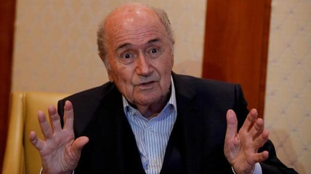 Former FIFA President Sepp Blatter gestures during an interview with Reuters in Zurich.(REUTERS)