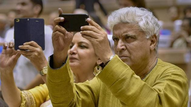 In this May 2016 file photo Bollywood lyricist Javed Akhtar is seen along with his wife Shabana Azmi at the 63rd National Film Awards function in New Delhi.(PTI)