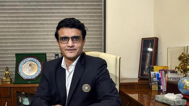 Sourav Ganguly poses for a photograph after taking charge as the new BCCI President at BCCI headquarters, in Mumbai.(PTI)