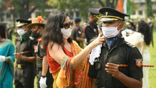 A cadet during piping ceremony at the passing out parade of Indian Military Academic (IMA) in Dehradun on Saturday.(PTI Photo)