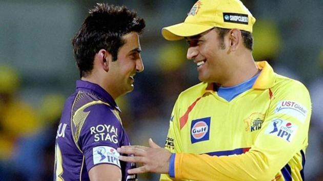 Chennai-Super-Kings-CSK-skipper-MS-Dhoni-and-Kolkata-Knight-Riders-KKR-captain-Gautam-Gambhir-during-the-IPL-2015.(PTI-Photo)