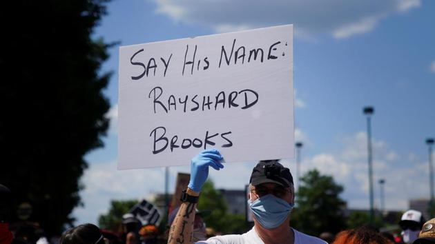 Protesters rally against racial inequality and the police shooting death of Rayshard Brooks, in Atlanta, Georgia, US(REUTERS)
