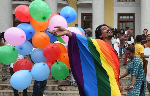 LGBT activists celebrate at the Town Hall in Bengaluru on September 6, 2018, after the verdict by the Supreme Court of India which stuck down section 377 of the penal code that penalised people for their sexual orientation and ordered that gay sex among consenting adults is not an offence.(Arijit Sen/HT Photo)