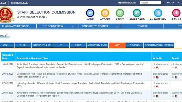 SSC JHT Paper 2 result 2020. (Screengrab)