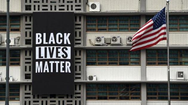 The Black Lives Matter banner was seen as support of worldwide movements honoring George Floyd, a black man who died in handcuffs while a white Minneapolis police officer pressed a knee on his neck.(@USEmbassySeoul/Twitter)