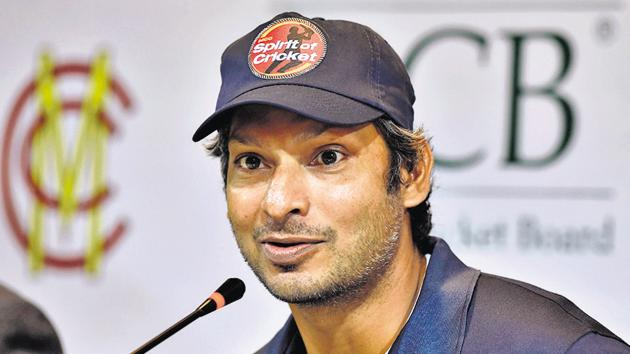 Former Sri Lankan cricketer Kumar Sangakkara and Marylebone Cricket Club (MCC) president speaks during a press conference in Lahore on February 13, 2020, ahead of a four-match tour as part of efforts to revive international cricket in Pakistan. (Photo by Arif ALI / AFP)(AFP)