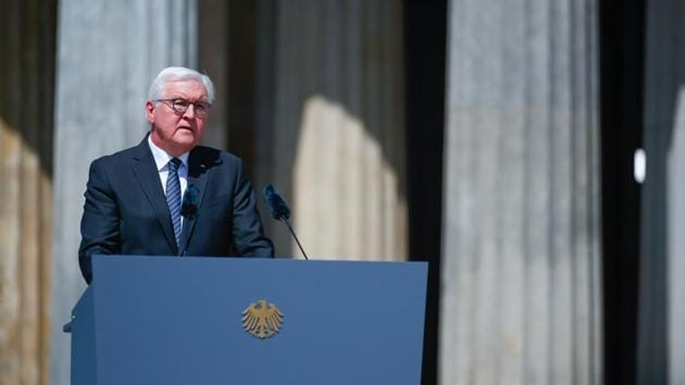 German President Frank-Walter Steinmeier gives a speech during a wreath laying ceremony to mark the 75th anniversary of the end of World War Two, at the Neue Wache Memorial in Berlin.(REUTERS)
