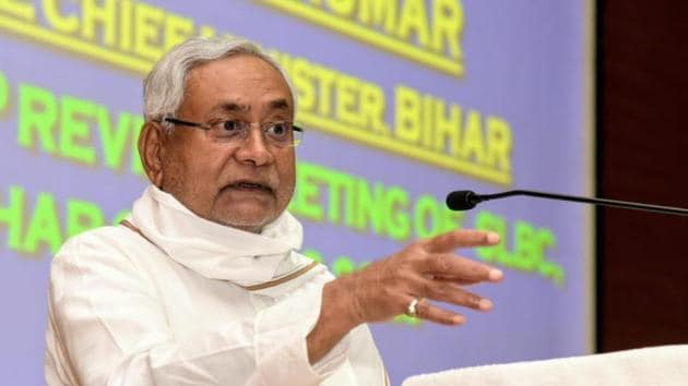 Chief minister if Bihar Nitish Kumar was addressing bankers at the 72nd state level bankers committee meeting.(HT Photo)