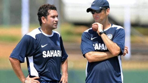 Sachin Tendulkar and Gary Kirsten during a nets session in 2010.(Getty Images)