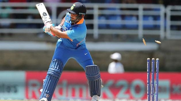 Rishabh Pant is out clean bowled against the West Indies during an ODI last August.(Getty Images)