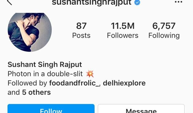 Bollywood actor Sushant Singh Rajput's Insta followers shot up from about 9 million to 11 million after news of his untimely death broke.(Photo: Instagram/sushantsinghrajput)