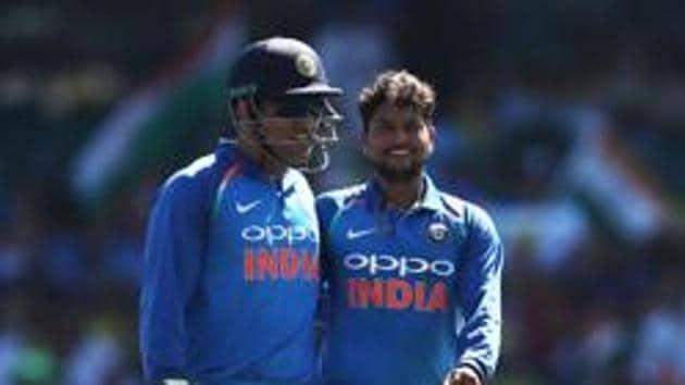 Kuldeep Yadav of India celebrates with MS Dhoni(Getty Images)