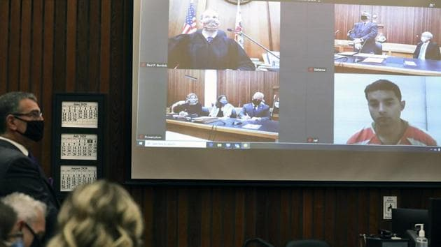 Steven Carrillo, who is charged with the June , 2020, ambush and killing of Santa Cruz Sheriff Deputy Sgt. Damon Gutzwiller and other crimes, appears by video from Monterey County Jail for his arraignment in Judge Paul Burdick's Santa Cruz County Superior Court courtroom.(AP)