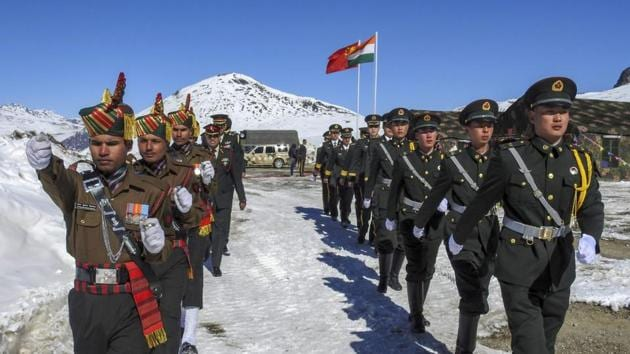 Indian and Chinese soldiers at Bumla along the Indo-China border in Arunachal Pradesh.(PTI File Photo)