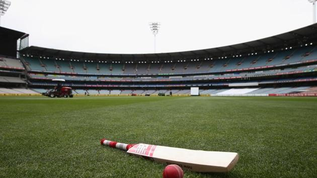 A bat and ball are seen on the turf ahead of day 2 of the Sheffield Shield match between Victoria and Western Australia at Melbourne Cricket Ground on November 26, 2014 in Melbourne, Australia.(Getty Images)