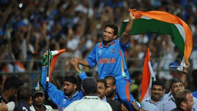 File image of Sachin Tendulkar celebrating World Cup win.(AFP)