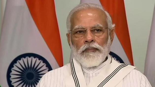 Prime Minister Narendra Modi addressing the launch of auction of 41 coal mines for commercial mining, via video conference on Thursday.(ANI Photo)