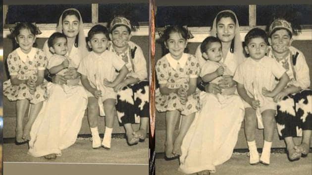 Krishna Raj Kapoor with her kids including Rishi Kapoor on her left.