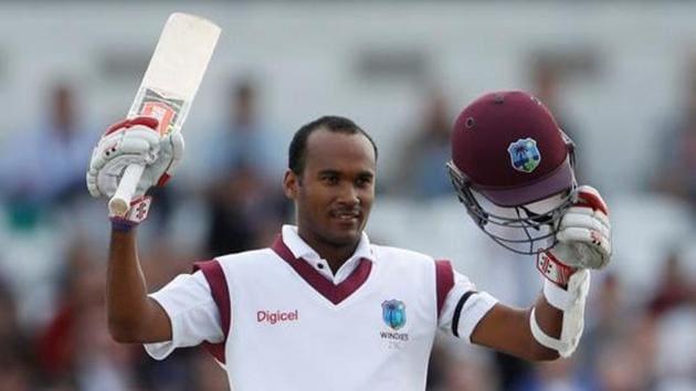 West Indies' Kraigg Brathwaite celebrates reaching his century.(Action Images via Reuters)