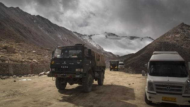 An Indian Army truck crosses Chang la pass near Pangong Lake in Ladakh region in this file photo.(AP Photo)