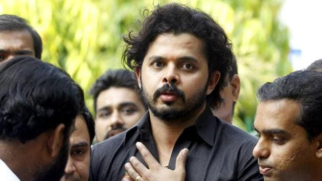 Former India cricketer S Sreesanth speaks to the press.(HT Photo)