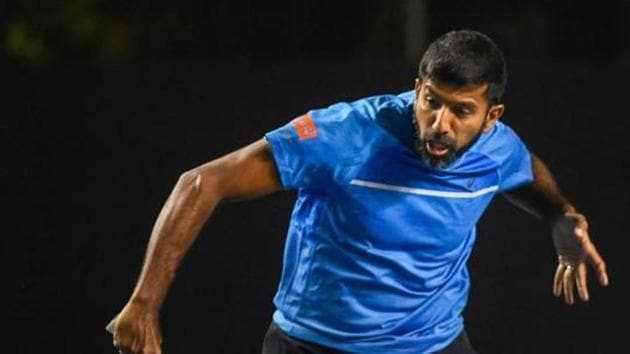 Rohan Bopanna during a match against Leander Paes and Reyes Varela at Tata Open Maharashtra 2019 of the ATP 250 tournament at Shree Shiv Chhatrapati Sports Complex, in Pune.(PTI)