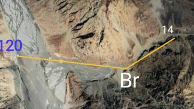 India China stand-off: The point marked 'Br' is the location of the Bailey bridge built by the India, 3 km east of the confluence. Patrolling Point 14 is 2 km from the bridge